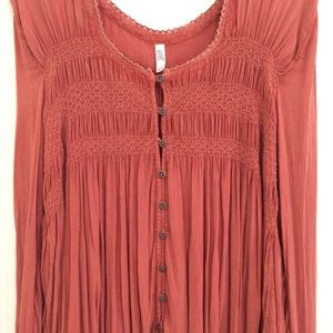 Free People Dresses - Free People Burnt Orange Long-Sleeve Tunic Dress